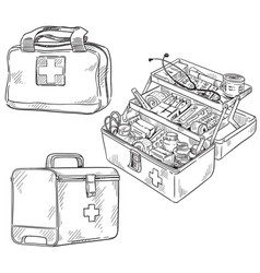 Set first aid kits line art sketch vector