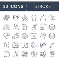 Set flat line icons stroke vector