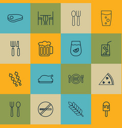 Set of 16 food icons includes eating house lolly vector