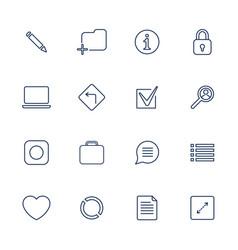 set of 16 icons for software application vector image vector image