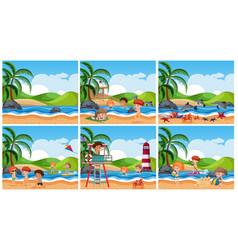 set of children at beach scene vector image