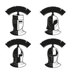 set of icons of ancient helmets vector image