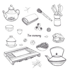 Set tea ceremony with various traditional tools vector