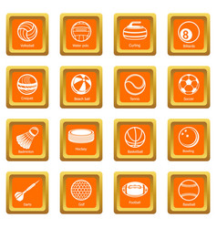 sport balls equipment icons set orange square vector image