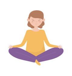 stay at home young woman practicing yoga lotus vector image