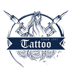 tattoo art design of horse line art style vector image