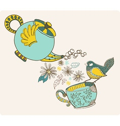 Tea time with flowers and bird vector image
