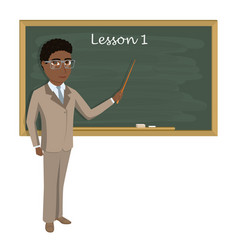 Teacher on lesson in classroom young teacher with vector
