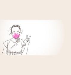 teenage girl in pink face mask for coronavirus vector image