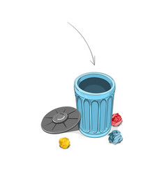 Throwing crumpled paper into dustbin vector