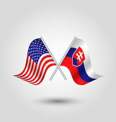 Two crossed american and slovak flags on silver vector