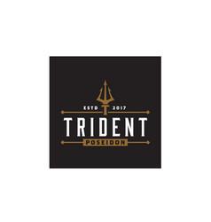 vintage trident poseidon neptune god triton logo vector image