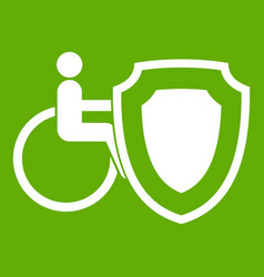 wheelchair and safety shield icon green vector image