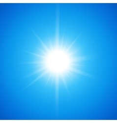 White glowing light burst sun on blue sky vector image