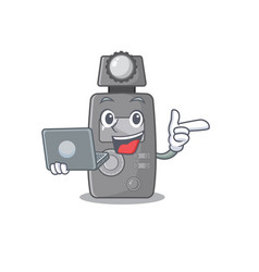 With laptop light meter character shape mascot vector