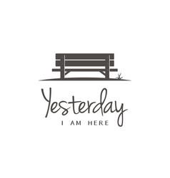 Wooden bench chair silhouette in grass park logo vector