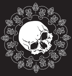 bandana design with skull and paisley ornament vector image vector image