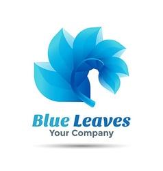 blue leaf logo design Template for your business vector image