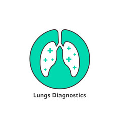 green outline lungs diagnostics with cross vector image vector image