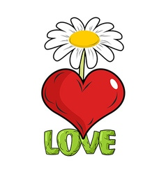 Love Red heart and flower Template for tattoos vector image vector image