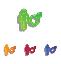 Male sign Colorfull applique icons vector image vector image