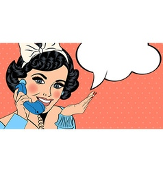 sexy beautiful woman chatting on the retro phone vector image