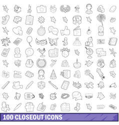 100 closeout icons set outline style vector image vector image