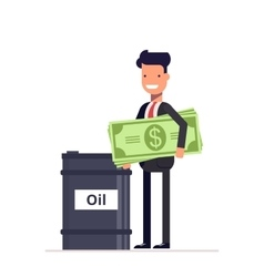 Businessman with money manager or stands near the vector image