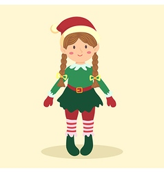 Elf Christmas Braid Girl vector image vector image