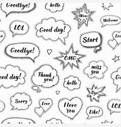 hand drawn set of speech bubbles with dialog vector image vector image