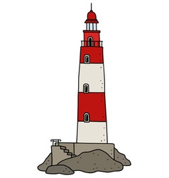 Old red lighthouse vector