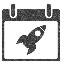Rocket Calendar Day Grainy Texture Icon vector image vector image