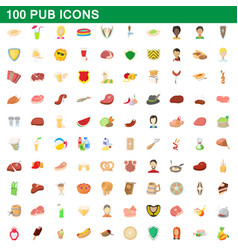 100 pub icons set cartoon style vector image