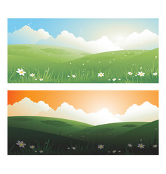 2 springs banners landscape day and sunscape with vector image