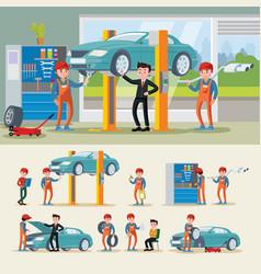 auto mechanics composition vector image