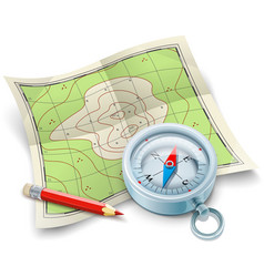 Compass map and pencil for vector image