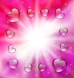 Llighten background with glassy hearts for vector image vector image
