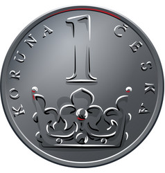 money one czech crones coin reverse vector image vector image