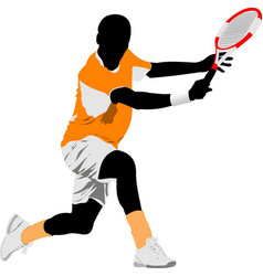 tennis player colored for designers vector image