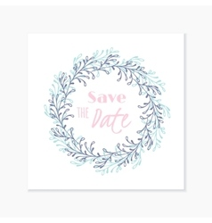 Wedding invitation card with hand drawn floral vector image