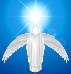 White angel against sky background vector