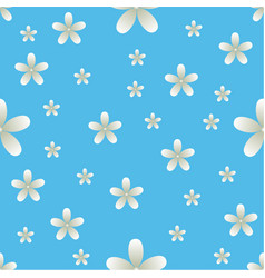 white flowers blue background pattern seamless vector image vector image