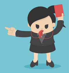 business woman showing red card concept for bad vector image vector image