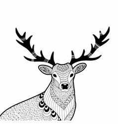 creative doodle of wild deer hand vector image