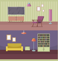 furniture horizontal banner set with house vector image vector image