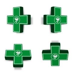 Green medical cross emblem vector image