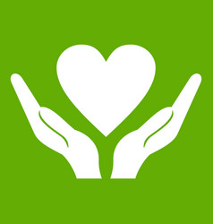 hands holding heart icon green vector image