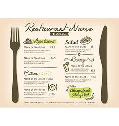 Restaurant Placemat Menu Design Template Layout vector image vector image