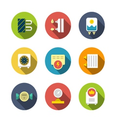 Set flat icons of heating vector