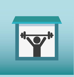 silhouette human lifting weight vector image